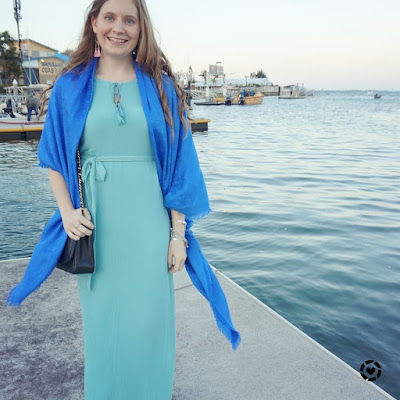 awayfromblue instagram wedding guest maxi dress outfit blue pastel grecian dress with cobalt louis vuitton shawl vintage chanel bag