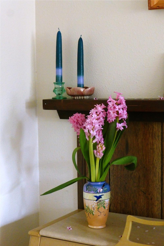 glass candle holder, vintage candle holder, hyacinths, spring hyacinths