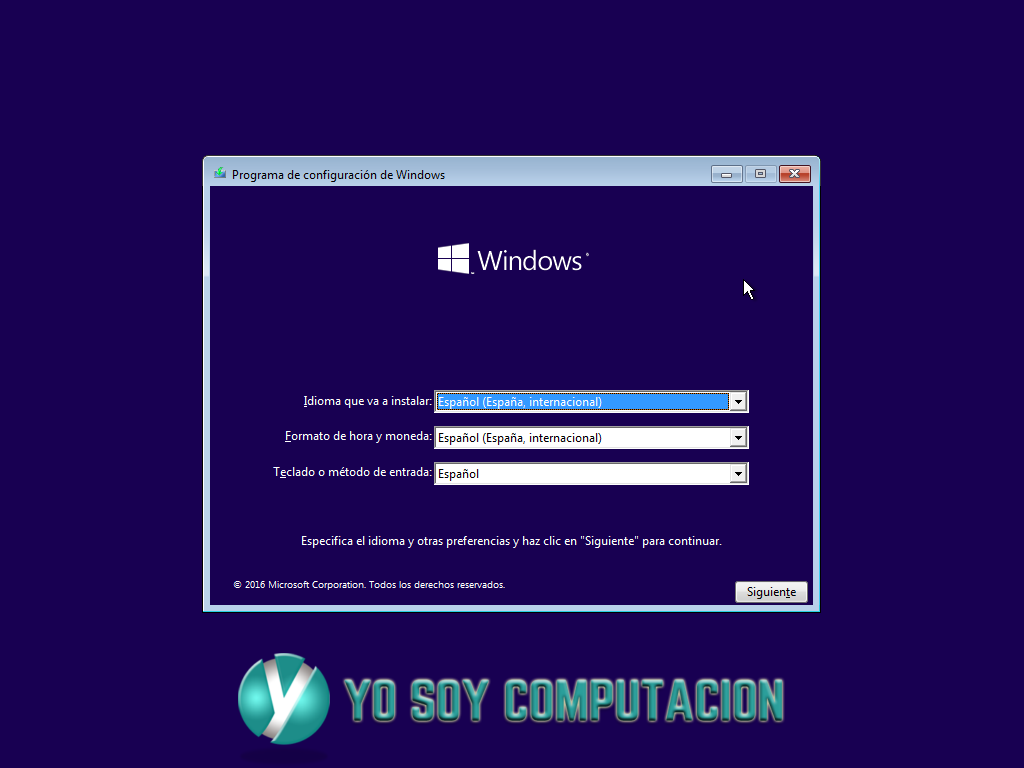 Programa de Instalación de Windows 10