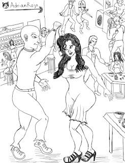 Un grupo de chicos Bailando en la Discoteca