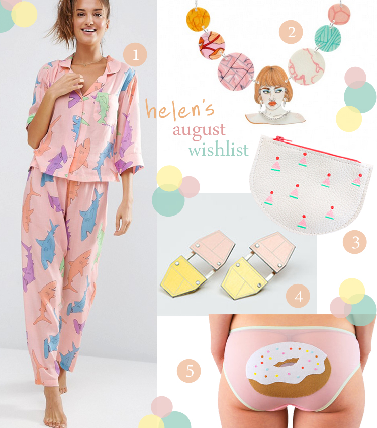 wishlist, wish list, pastel wishlist, ASOS pjs, shark pyjamas, pastel shark nightwear, Tatty Devine x Laura Callaghan, illustrated jewellery, coin purse, Popcorn Bags, printed leather bags, Beth Spowart, statement earrings, sc-fi earrings, donut pants, embroidered knickers, Knickerocker