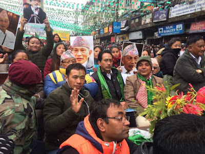 Mann Ghising at the GNLF rally in Darjeeling