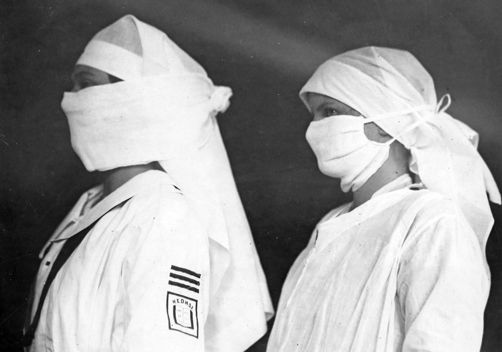 Nurses in Boston hospitals, equipped to fight influenza.