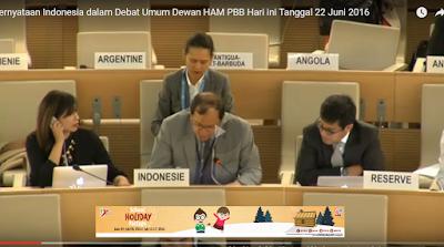 """Video Pernyataan Indonesia dalam Debat Umum Dewan HAM PBB hari ini Tanggal 22 """"Sedang Berlangsung LIVE Online"""""""