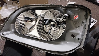 headlight lens removed