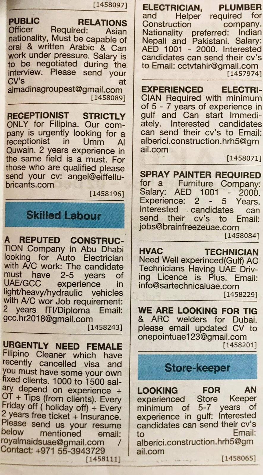 Required for Dubai Local Hiring Jobs Khaleej Times-UAE