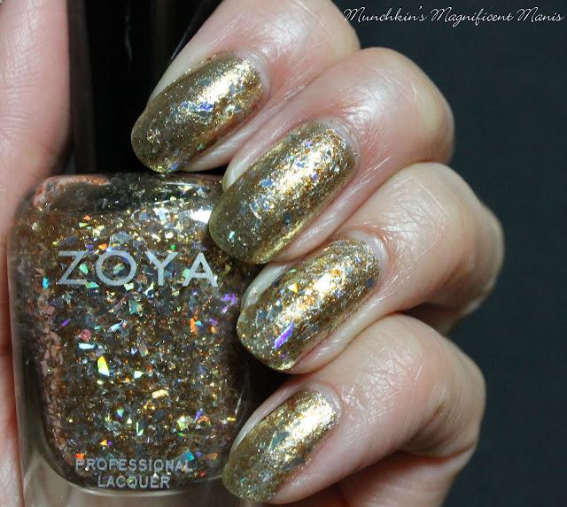 Zoya Kaede (glitter topper) over Ziv