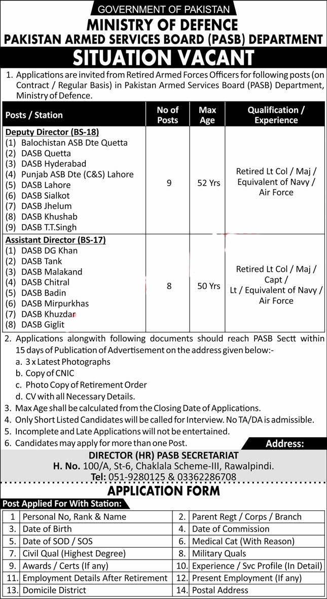 Pakistan Armed Services Board Jobs 2020