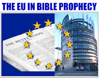 a graphic by Erika Grey of the EU in Bible Prophecy. In blue capital letters across the top of the graphic it reads The EU in Bible Prophecy and an open page of the book of Revelation is showing , with the EU flag beneath and to the right of the book of Revelation is the EU Parliament building modeled after the tower of Babel and on top of the Bible and also on the EU Parliament building is the circle of 12 stars which is in the center of the flag. So it appears as if the book of Revelation and the EU Parliament building are beneath the 1 stars  but above the blue fabric of the EU flag.