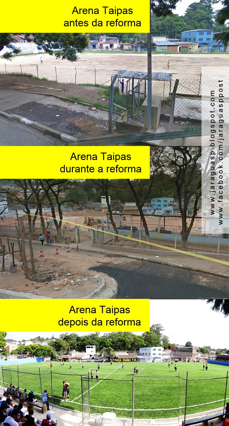 Três momentos da Arena Taipas.  Fotos 1 e 2: Google Earth Foto 3: Marinaldo Pedrosa