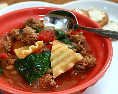 Lasagna Soup with Fresh Spinach, a healthy hearty soup, high protein. For Weight Watchers, just #PP4.