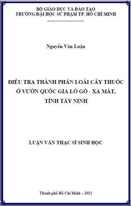 Điều tra thành phần loài cây thuốc ở vườn quốc gia Lò Gò – Xa Mát tỉnh Tây Ninh