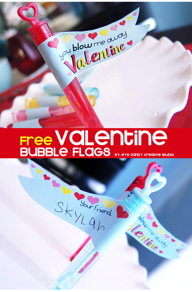 non candy valentine, free valentine, bubble flags, valentines day