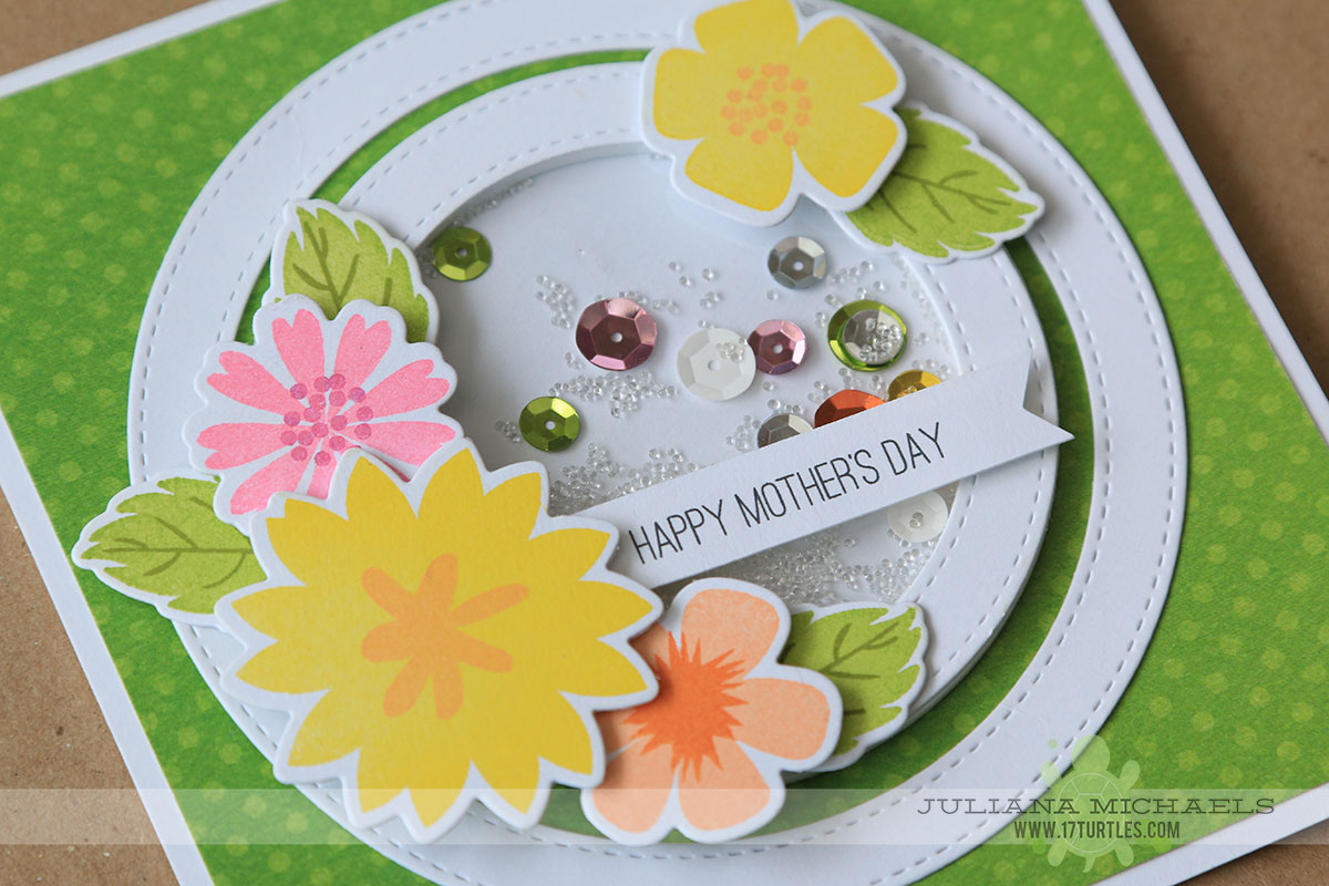 Happy Mothers Day Shaker Box Card by Juliana Michaels featuring MFT Stamps Modern Blooms and Die-namics Stitched Circle Frames