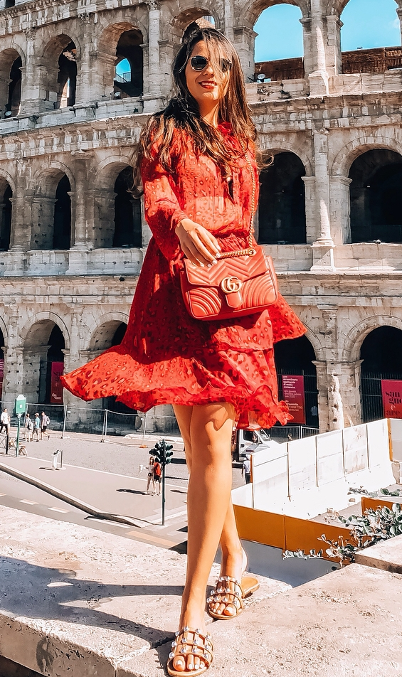 what to wear this summer : red dress + pearl slides + bag