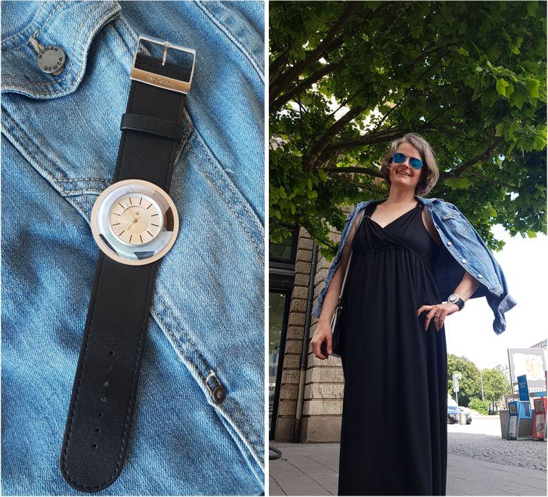Deja Vu Uhr mit schwarzem Maxikleid