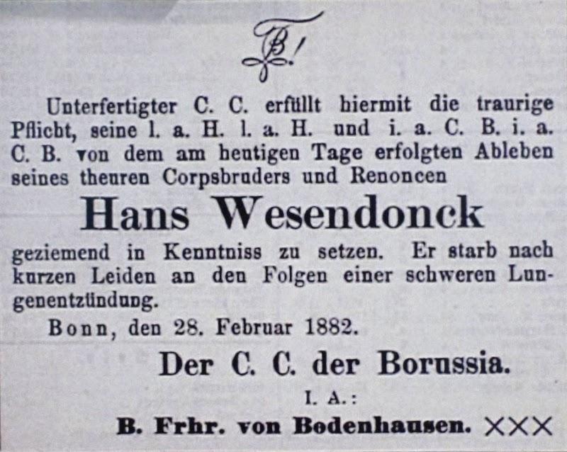 Bonner Zeitung. Todesanzeige des Corps Borussia vom 28.02.1882