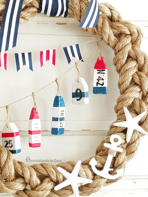 coastal decor red white and blue