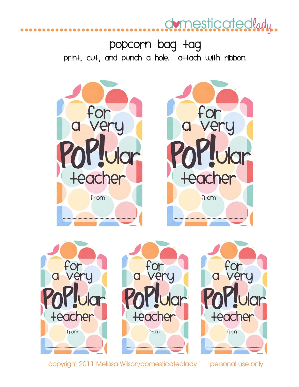 picture regarding Popcorn Teacher Appreciation Printable titled CocktailMom: Outstanding Trainer Appreciation Present