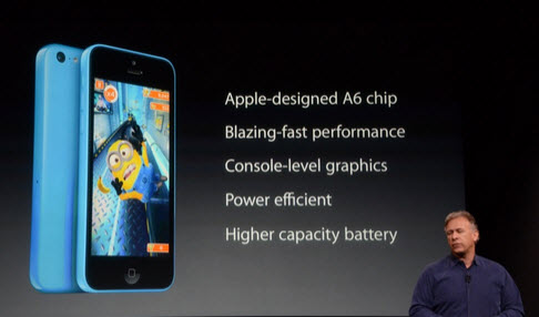 "iPhone 5S with fingerprint reading 5C colors ""Live Presentation"""
