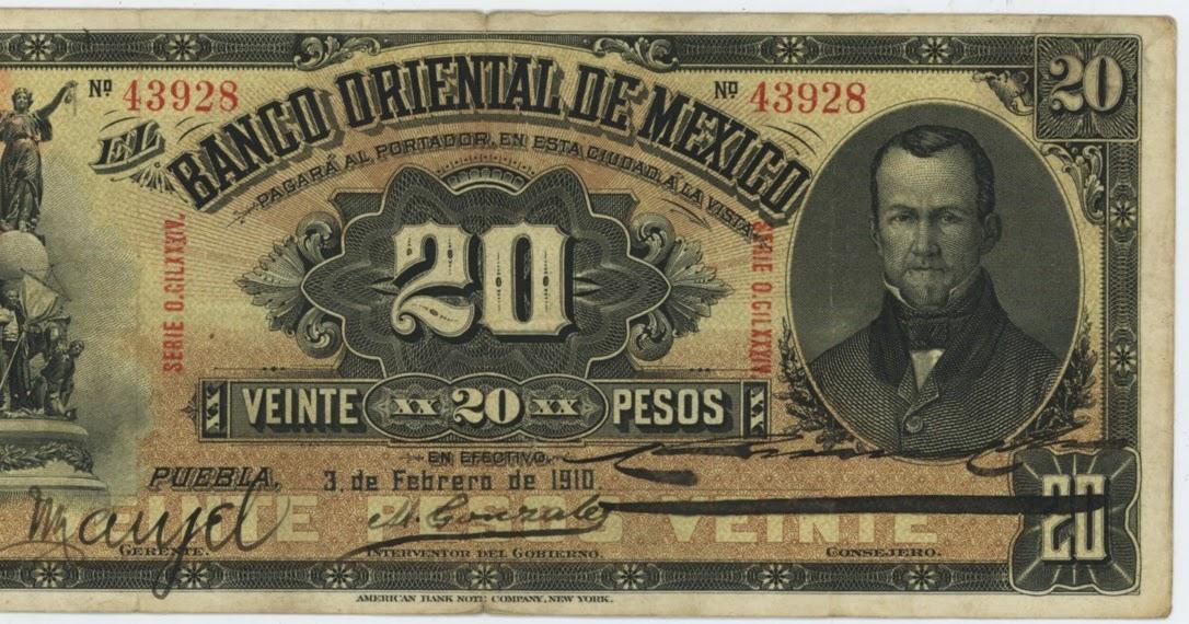 Mexican Banknotes 20 Pesos Banknote 1910 Banco Oriental De Mexico World Banknotes Amp Coins