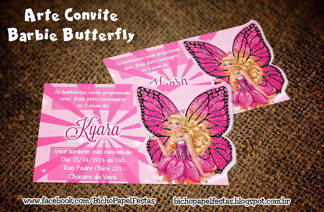 Convite Barbie Butterfly