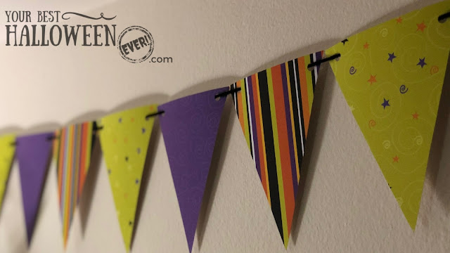 Halloween banner decoration made with paper pennants