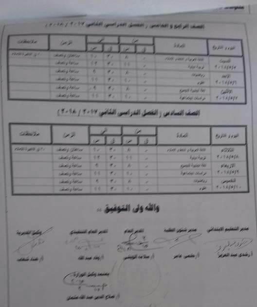 جدول مواعيد امتحانات اخر العام 2018 محافظة كفر الشيخ