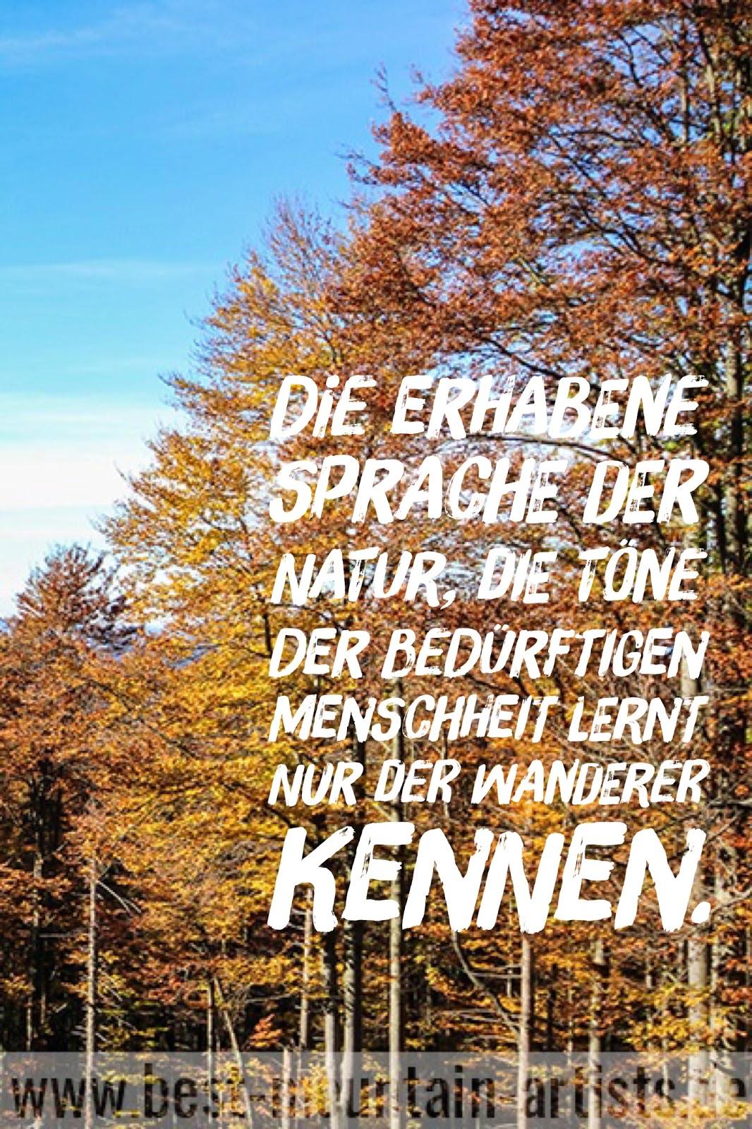 """""""Die erhabene Sprache der Natur, die Töne der bedürftigen Menschheit lernt nur der Wanderer kennen."""", Johann Wolfgang von Goethe"""