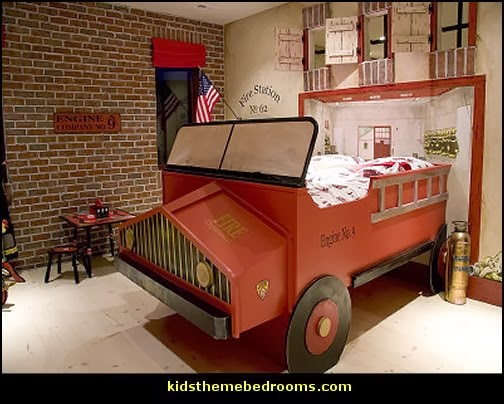 firetruck theme bedroom decorating ideas-transportation theme bedrooms