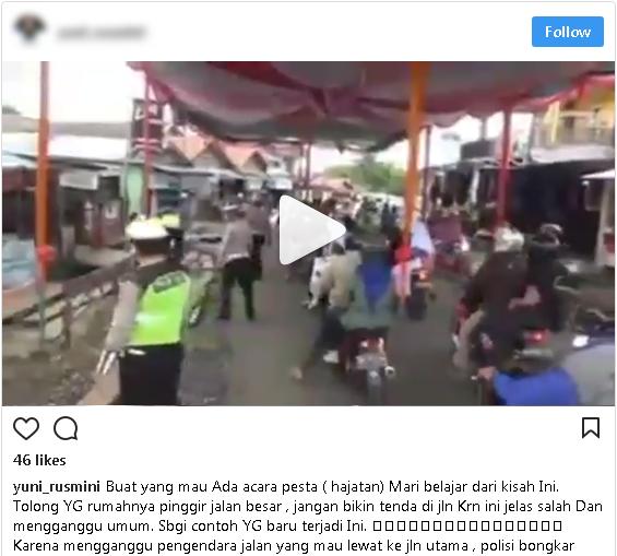 Masih Suka Dirikan Tenda Menutup Jalan, Lihat Video Polisi Bongkar Paksa Tenda Pernikahan