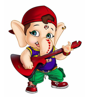 Cute Animated God Ganesha Picture