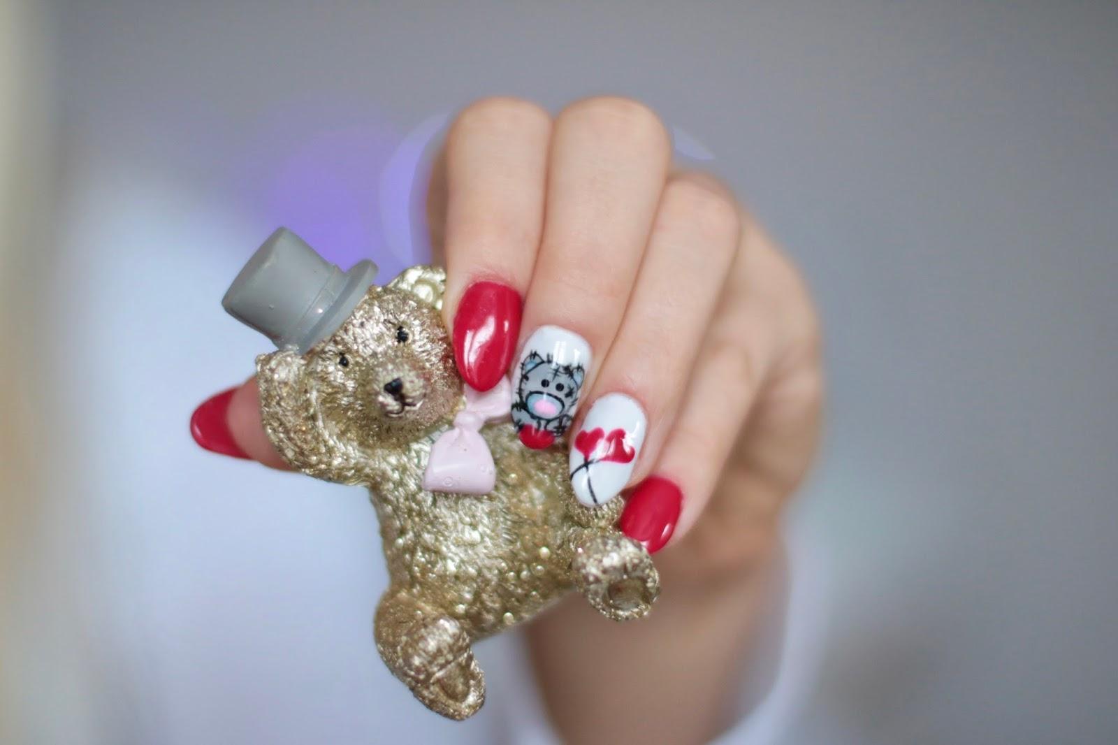 Valentine's Nails - Walentynkowy miś i serduszka