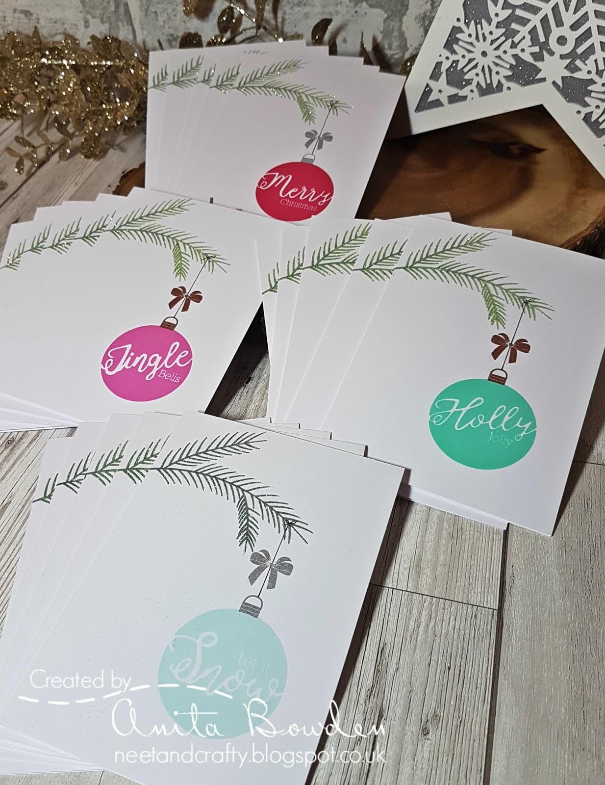 Neet & Crafty: Christmas Card Multiples - Sentiment Baubles