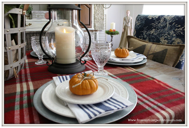 French Farmhouse Style Fall Dining Room-Pumpkins-Table Setting-Blanket Table Runner-From My Front Porch To Yours