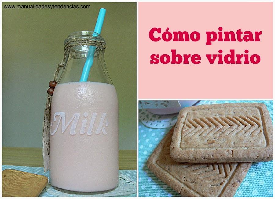 Botella de leche decorada. Pintar sobre vidrio