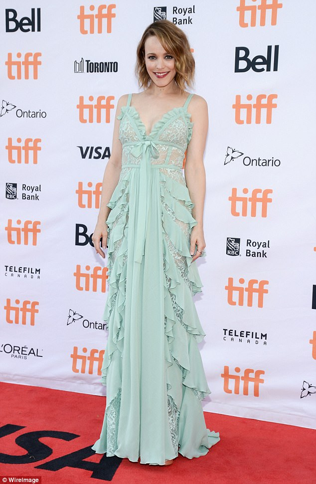 Rachel McAdams in gorgeous in mint lace dress at the TIFF 'Disobedience' Premiere