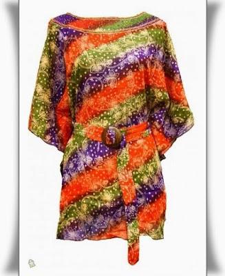 Model Dress Batik Orang Gemuk lengan pendek