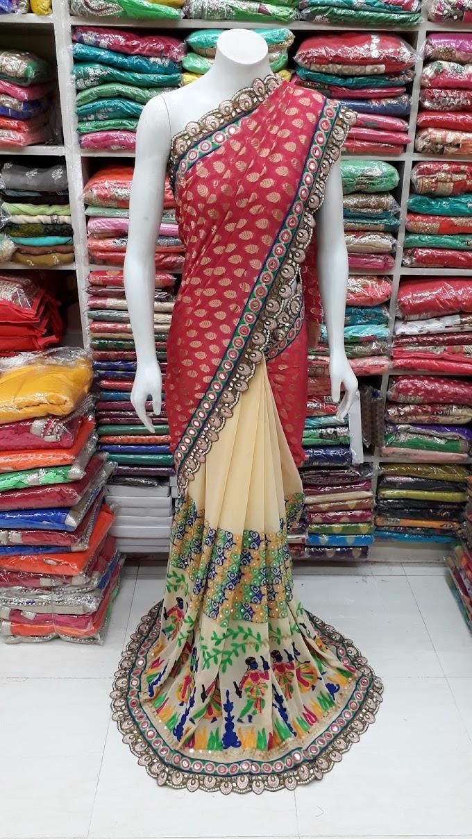 beautiful designer cream marun kacchi work fancy saree all over silver border