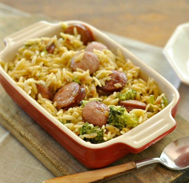 Smoked Sausage and Cheesy Orzo #easy #dinner