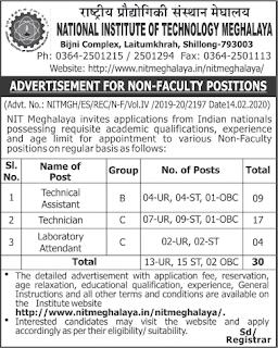 NIT Meghalaya Recruitment 2020 Non Faculty Posts (30 Vacancies)