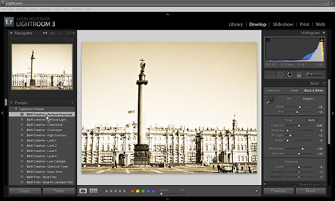 Use presets in Photoshop Lightroom for Black & White conversion