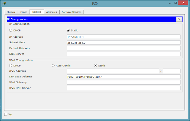 Konfigurasi pada PC 0