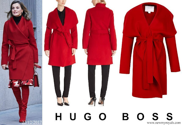 Queen Letizia wore HUGO BOSS Catifa Wool Cashmere Shawl Collar Coat
