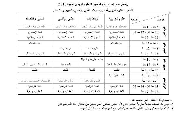 جدول سير اختبارات بكالوريا التعليم الثانوي دورة 2017 للشعب العلمية
