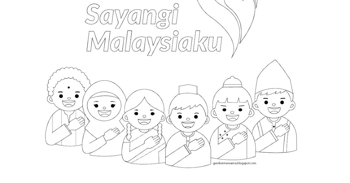 Poster Sayangi Malaysiaku Gambar Mewarna Colouring Picture