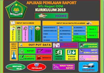 Aplikasi Penilaian dan Cetak Raport Kurikulum 2013 Untuk Jenjang MTs Gratis
