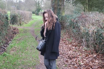 OOTD,Monochrome winter outfit, with patterned check trousers fur collared coat and chelsea boots