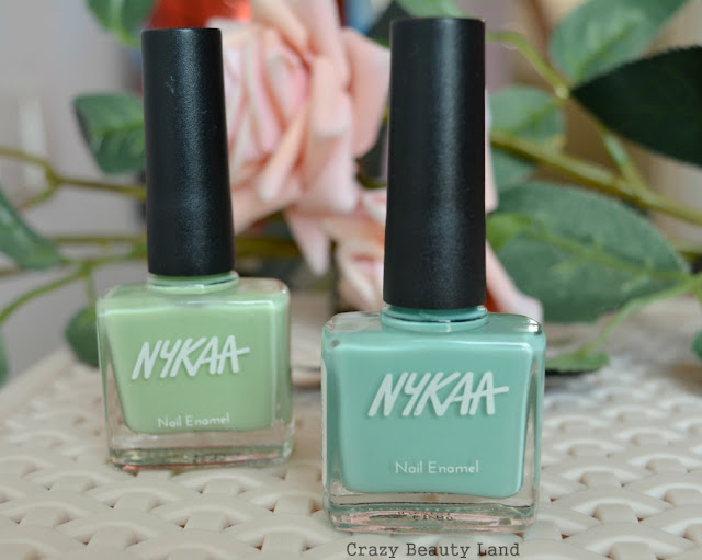 Nykaa Pastel Nail Enamels Hasta La Pista (64), Mint Meringue (65) Review and Swatches