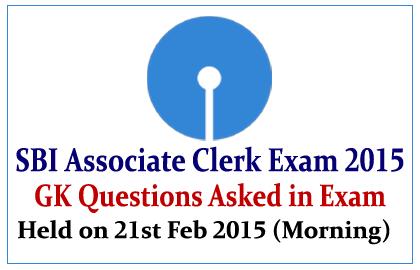 List of GK Questions Asked in SBI Associate Clerk Exam